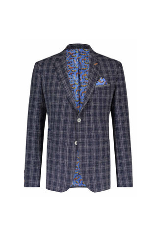 Lightweight Sport Coat Navy Blue Plaid