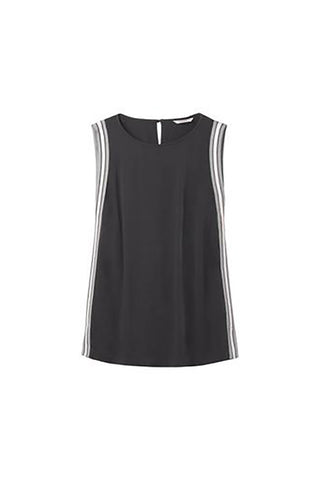 Sleeveless Top with Striped Piping in Charcoal