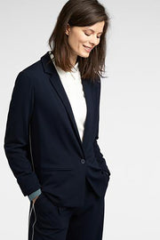 Long-Sleeved Blazer with Piping in Dark Sapphire
