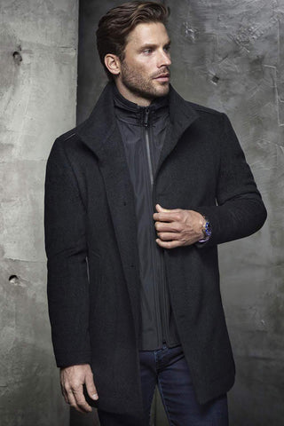Campbell Wool-Cashmere Blend Coat with Storm Bib