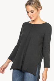 Pima-Cotton Long-Sleeved, Boat-Neck T-Shirt Two Colours