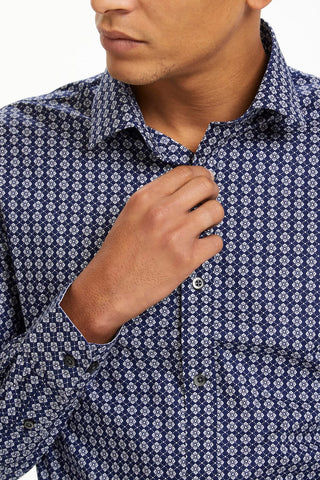 Trostol Long-Sleeved Geo-Floral Dark Navy