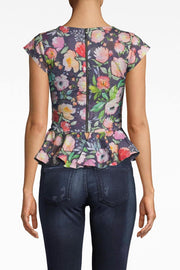 Watercolor-Floral, Cotton-Metal Peplum Top