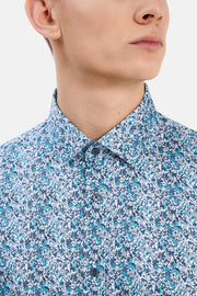 Trostol Long-Sleeved Sport Shirt Abstract Print Ink Blue
