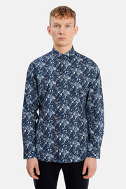 Marc Long-Sleeved Sport Shirt Navy Blazer Floral Print
