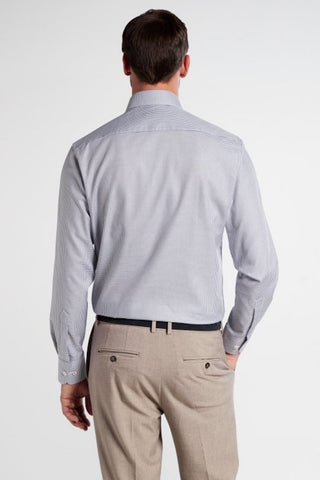 Long-Sleeved Twill Shirt Modern Fit Grey-White Check