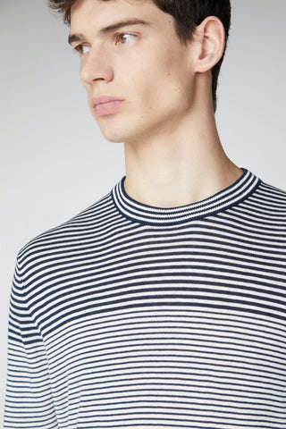 Breton-Stripe Crew Neck Sweater Dark Navy