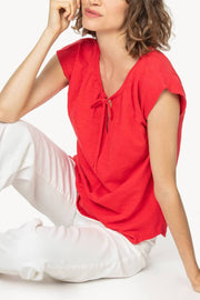 Short-Sleeved, Split-Neck T-Shirt Two Colours