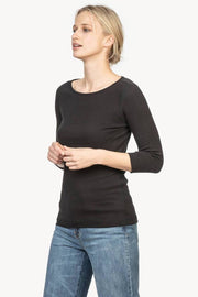 Cotton T-Shirt with Three-Quarter, Push-Up Sleeves Two Colours
