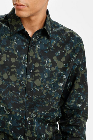 Matinique Long-Sleeved Robo Casual Shirt Moss Green