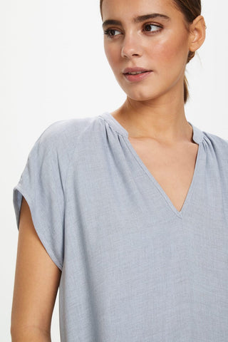 Alida Cap-Sleeved, V-Neck Top Two Colours