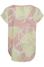 Shania Cap-Sleeved Peach Print Top