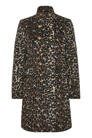 Double-Breasted Coat Leopard Print