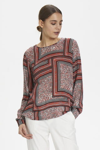 Atami Long-Sleeved Mosaic-Print Blouse Provence