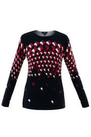 Long-Sleeved Red-Black Patterned Sweater