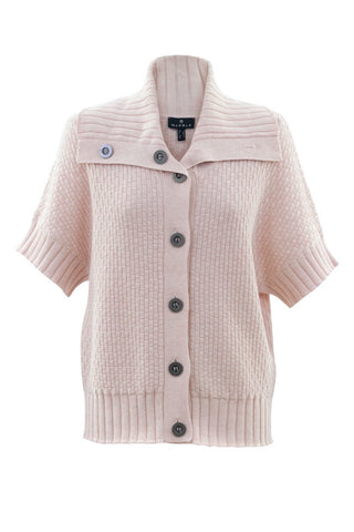 Short-Sleeved, Stand-Collar Cardigan Navy or Pink
