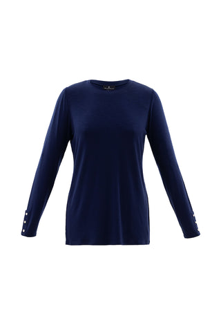 Three-Quarter Sleeve, Crew Neck Top With Button Details Navy, Black or Ivory