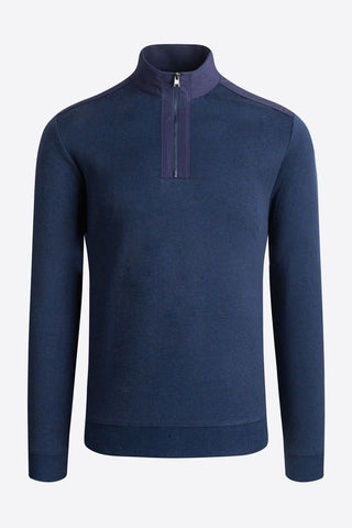 Long-Sleeved, Quarter-Zip Mock Neck Sweater Navy or Cement