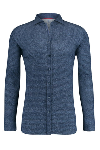 Long-Sleeved Knit Shirt Heathered Blue