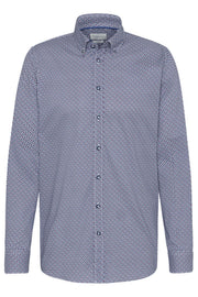 Long-Sleeved Button-Down Shirt Blue Geometric Print