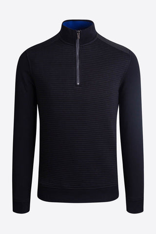 Long-Sleeved, Quarter-Zip Mock-Neck Sweater Black