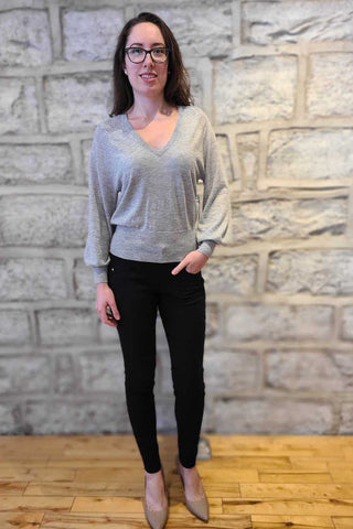 Bishop's Sleeve Cashmere Sweater Light Grey