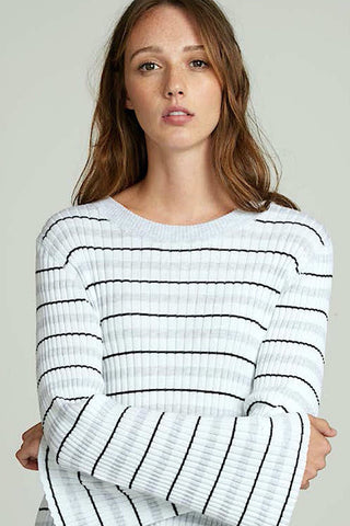 Cropped, RIbbed White Crew Neck with Platinum-Black Stripes