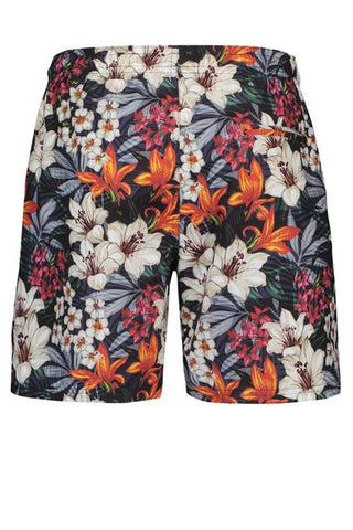 Floral Swim Trunks Tropical Red