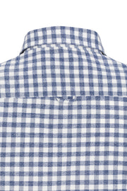 Long-Sleeved Flannel Sport Shirt Denim Blue Check
