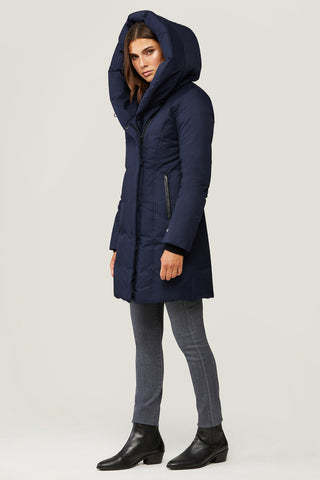 Camelia Slim-Fit Brushed Down Coat with Leather Trim