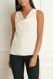 Chiffon Sleeveless Blouse With Relaxed Cowl Neck Ivory