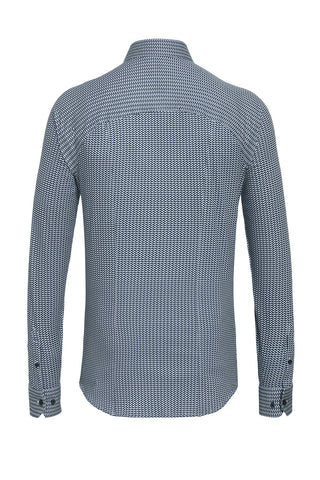 Long-Sleeved Knit Shirt with Blue Chevron