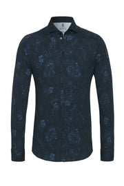 Long-Sleeved Knit Shirt with Blue Print