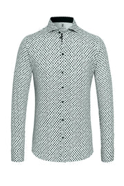 Long-Sleeved Knit Shirt with Navy-Olive Dot Print