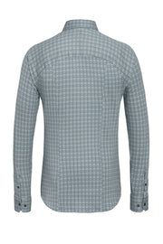 Long-Sleeved Knit Shirt Grey Mosaic Print