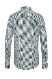 Long-Sleeved Knit Shirt Grey-Dot Print on White