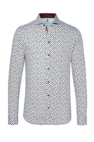 Long-Sleeved Knit Shirt with Navy-Grey-Rust Dot Print