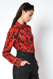 Long-Sleeved Jersey-Knit Shirt Red with Black Print