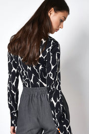 Long-Sleeved, Jersey-Knit Shirt Black-White Print