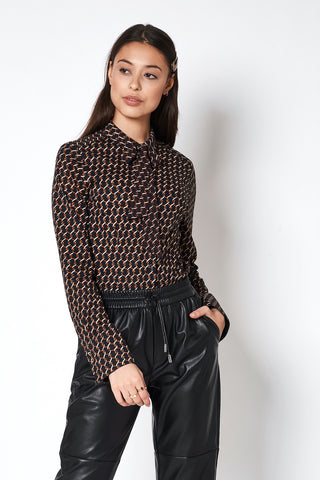 Long-Sleeved, Black Jersey-Knit Shirt with Chain Print