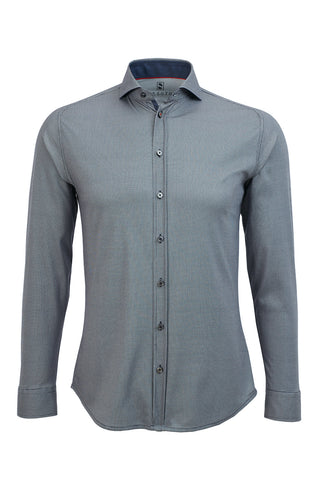 Long-Sleeved Knit Shirt Blue-Grey Piqué