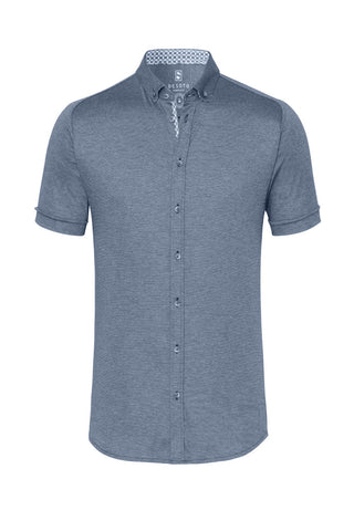 Short-Sleeved Knit Shirt Light-Blue Piqué