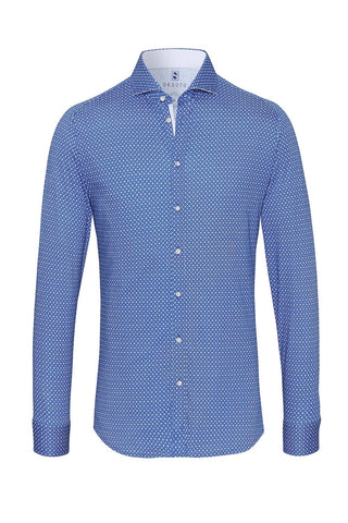 Long-Sleeved Knit Shirt Blue with White Dot
