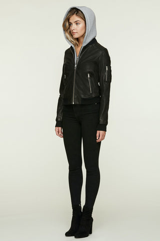 Farica-N Bomber-Style Leather Jacket Black