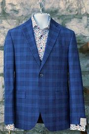 Super-Fine Wool Sport Coat Blue Plaid