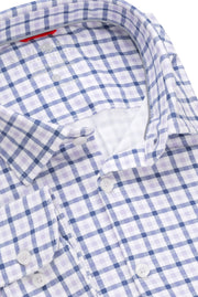 Long-Sleeved, Performance-Knit Shirt Lavender Check