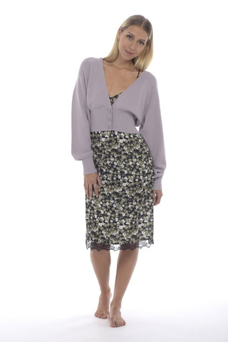 V-Neck, Cropped Cotton Cardigan Lilac
