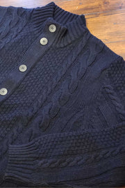 Full-Button, Mock-T Cable Cardigan Navy