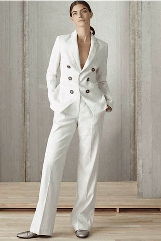 Straight-Leg, Linen-Blend Pinstriped Pant Ivory