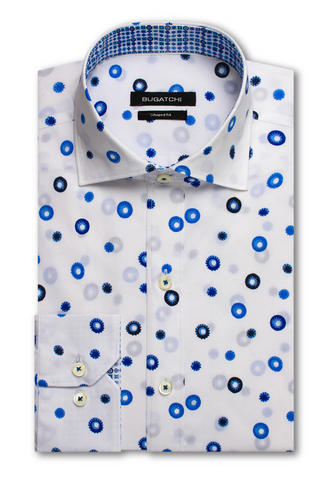 Long-Sleeved White Casual Shirt with Two-Tone Blue Circles